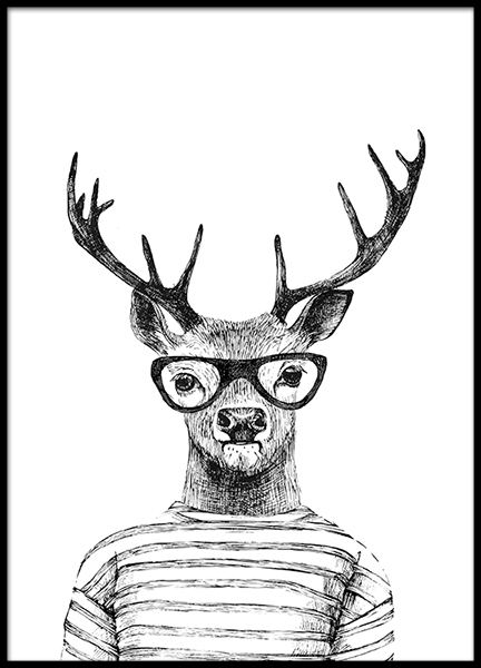 Poster with illustration of animal and reindeer for interior design