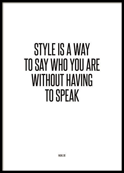 Typography fashion poster Rachel Zoe, style is a way, trendy print
