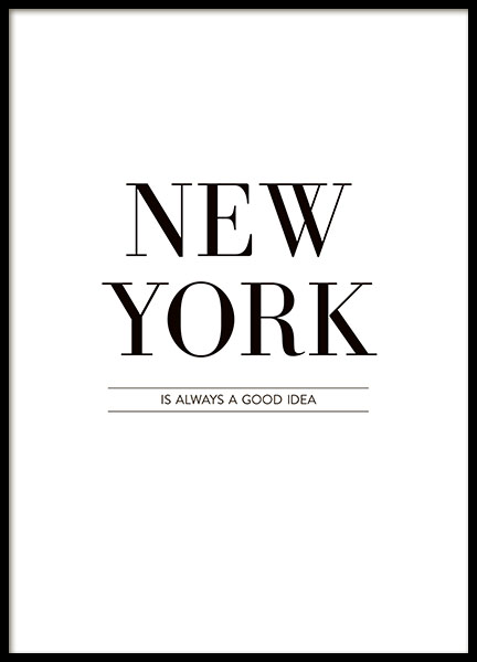 Stylish prints with the text, New York, in a clean design
