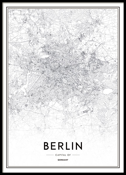 Poster with map of Berlin and black and white prints