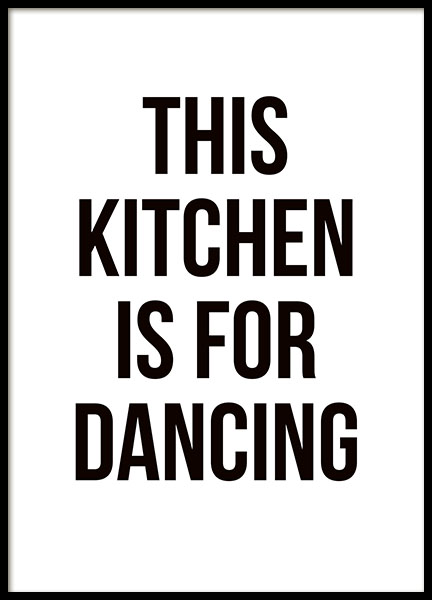Kitchen art with black and white text, nice typography print for the kitchen