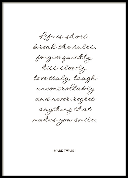 Print with quote by Mark Twain for a frame and the bedroom
