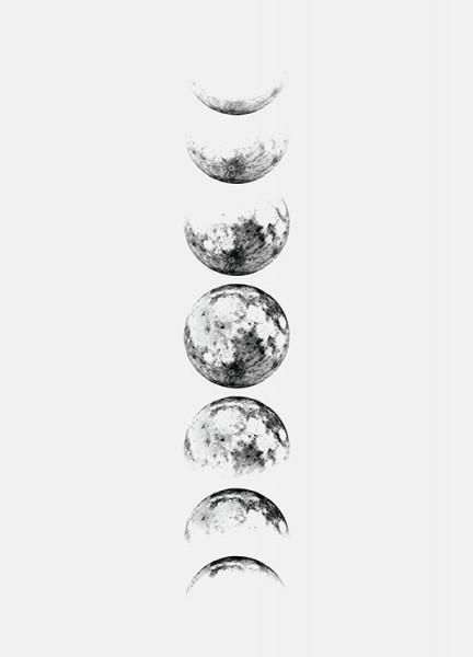 moon phase grey poster. Black Bedroom Furniture Sets. Home Design Ideas