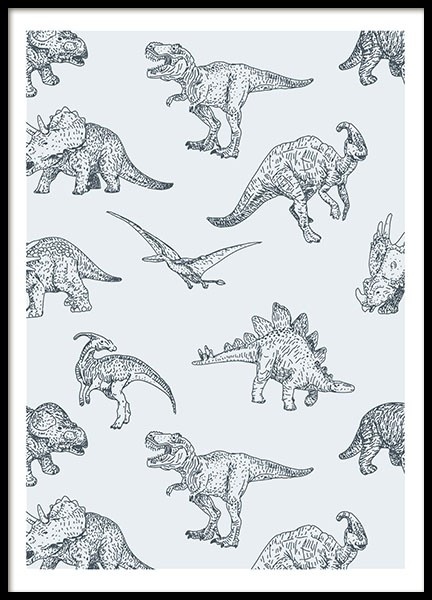 Pastel Dinosaurs, Poster in the group Posters & Prints / Kids posters at Desenio AB (8443)