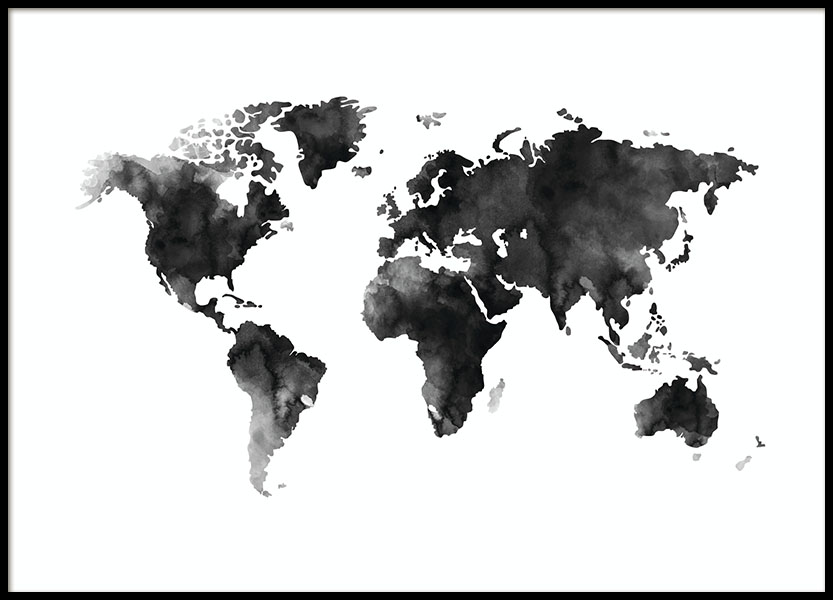 World Map Watercolor, Poster in the group Posters & Prints / Black & white at Desenio AB (8451)