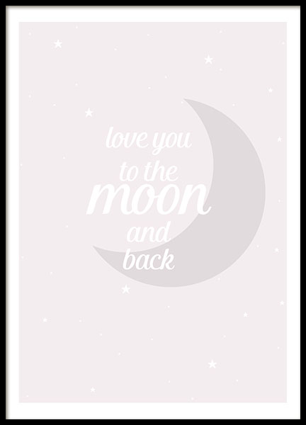 Moon And Back Pink, Poster in the group Posters & Prints / Kids posters at Desenio AB (8463)