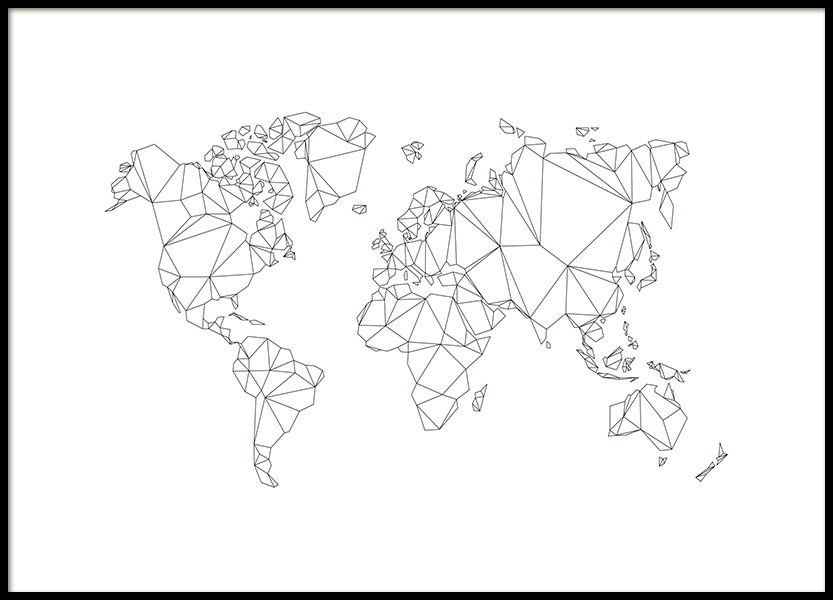 Polygon World Map, Poster in the group Posters & Prints / Maps & cities at Desenio AB (8486)