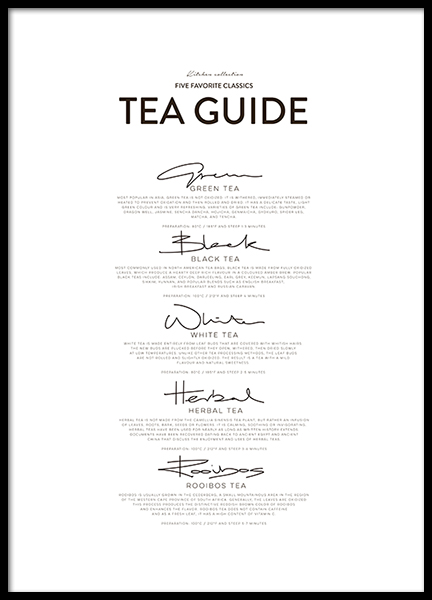 Five Tea Classics, Posters in the group Posters & Prints / Kitchen at Desenio AB (8557)