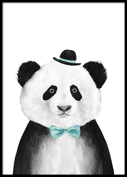 Panda With Blue Hat Print in the group Posters & Prints / Kids posters at Desenio AB (8709)