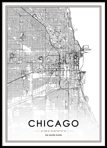 Chicago Map Poster in the group Posters & Prints / Maps & cities at Desenio AB (8717)
