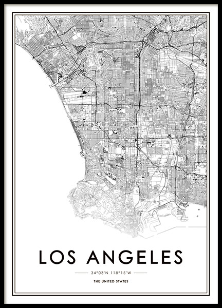 Los Angeles Map Poster in the group Posters & Prints / Maps & cities at Desenio AB (8718)