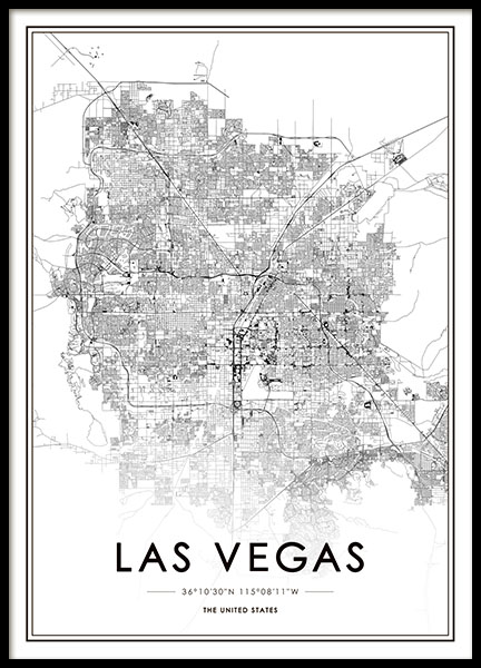 Las Vegas Map Poster in the group Posters & Prints / Maps & cities at Desenio AB (8725)