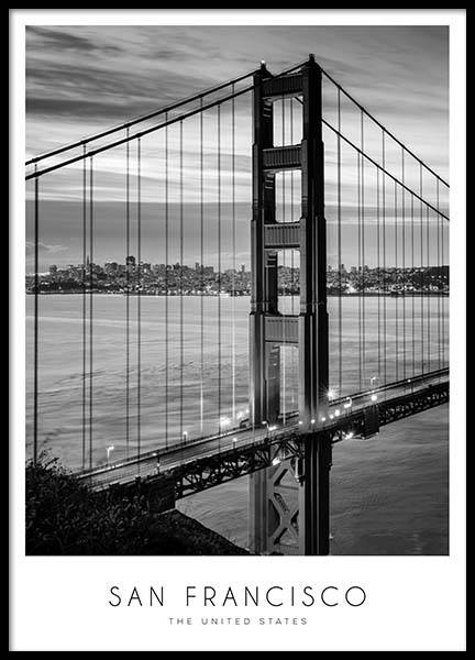 Golden Gate Bridge Poster in the group Posters & Prints / Black & white at Desenio AB (8920)