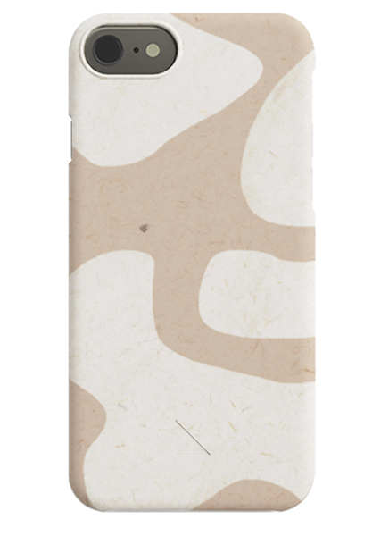 – Beige iPhone case with abstract, light beige shapes on a darker beige background