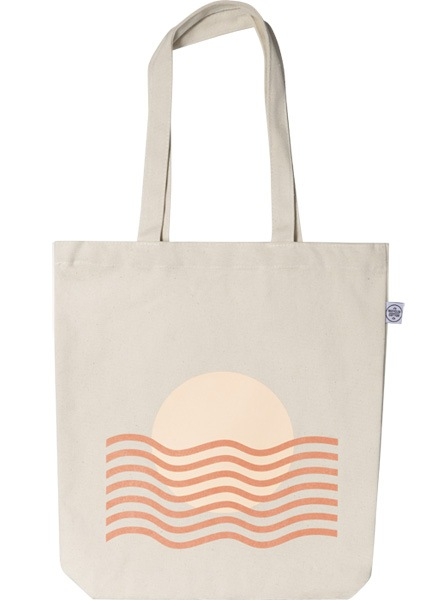 – Beige tote bag with a sunset and waves in orange printed on the front