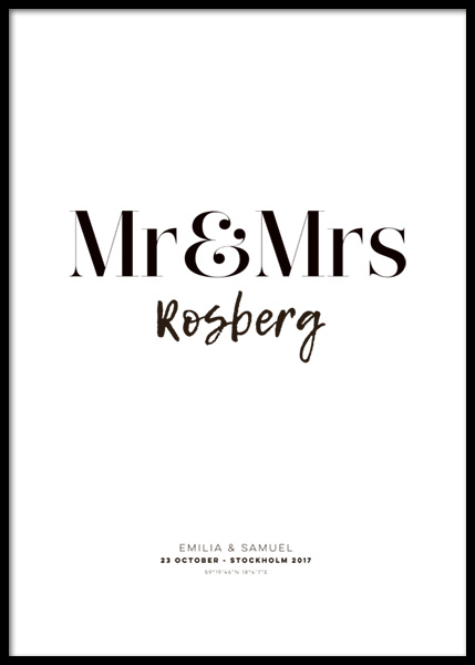 Mr and Mrs Personal Poster in the group Posters & Prints / Personalized wall art at Desenio AB (pp0011)