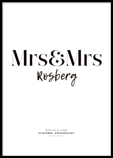 Mrs and Mrs Personal Poster in the group Posters & Prints / Personalized wall art at Desenio AB (pp0012)