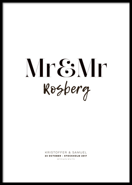 Mr and Mr Personal Poster in the group Posters & Prints / Personalized wall art at Desenio AB (pp0013)
