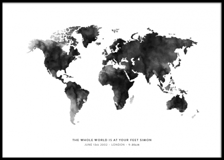 World Map Grey Personal Poster in the group Posters & Prints / Personalized wall art at Desenio AB (pp0016)