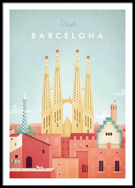 Barcelona Travel Poster in the group Posters & Prints at Desenio AB (pre0006)