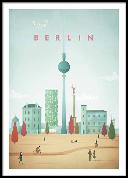 Berlin Travel Poster in the group Posters & Prints / Handpicked / Henry Rivers at Desenio AB (pre0007)