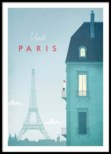 Paris Travel Poster in the group Posters & Prints / Handpicked / Henry Rivers at Desenio AB (pre0013)