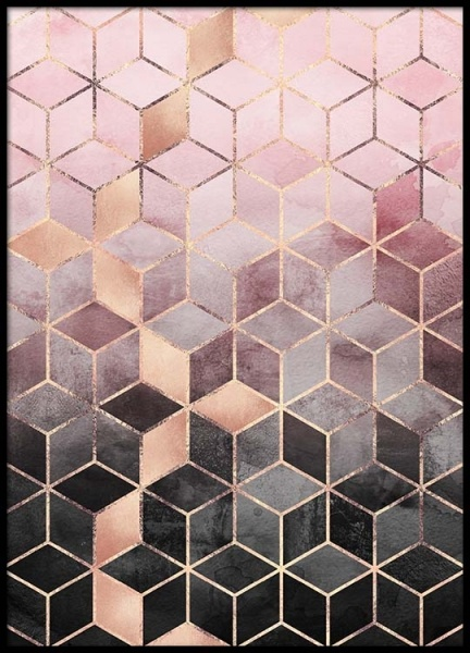 Pink Grey Gradient Cubes Poster in the group Posters & Prints / Graphical at Desenio AB (pre0016)