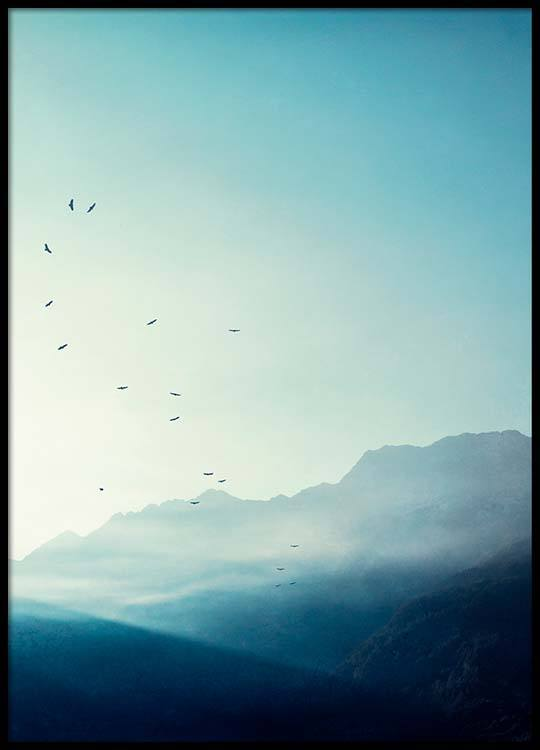 mountains at sunrise poster