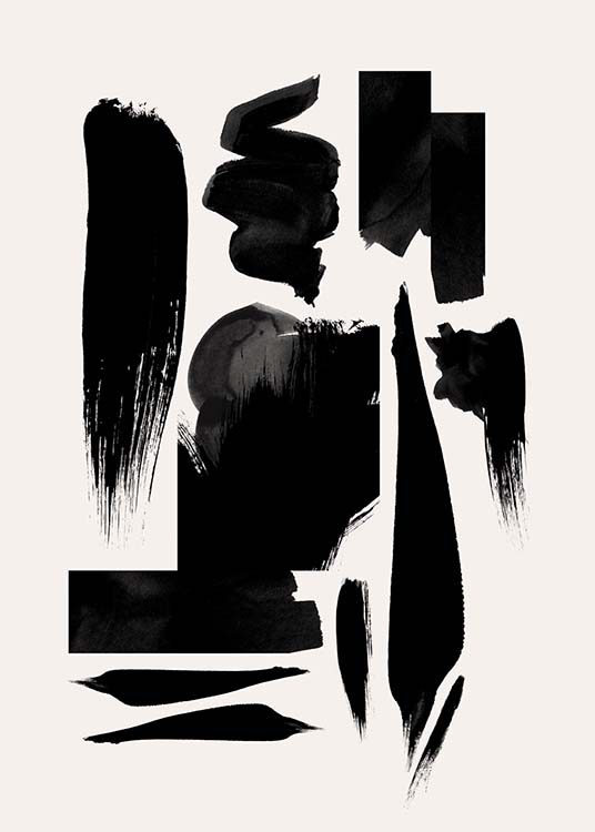 Strokes In Black Poster / Art prints at Desenio AB (10152)