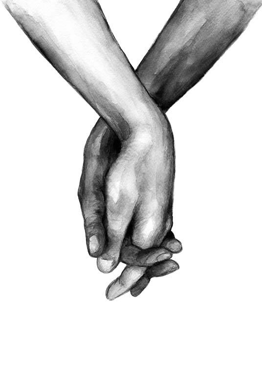 – Black and white watercolor illustration of a pair of hands holding each other