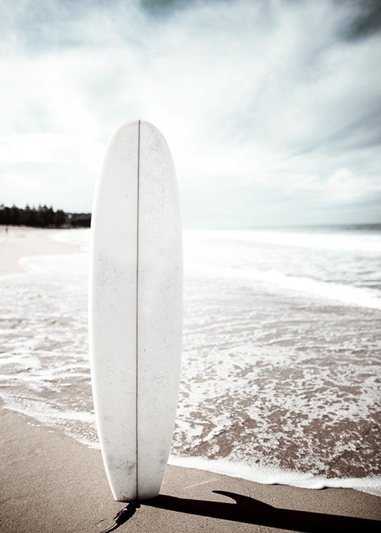 Surfboard On The Beach Poster