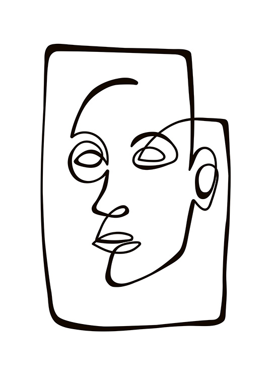 Abstract Line Portrait Poster / Black & white at Desenio AB (10838)