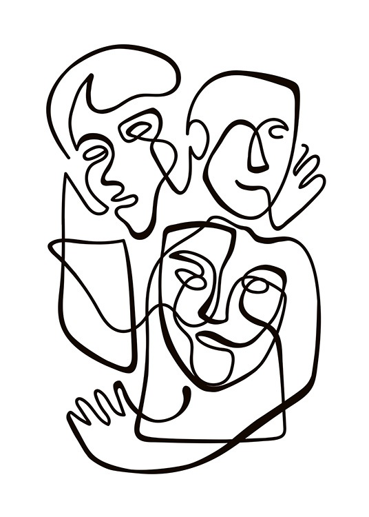 Abstract Line People No1 Poster / Black & white at Desenio AB (10840)