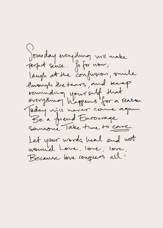 – Handwritten text poster with a letter about the here and now on a light background