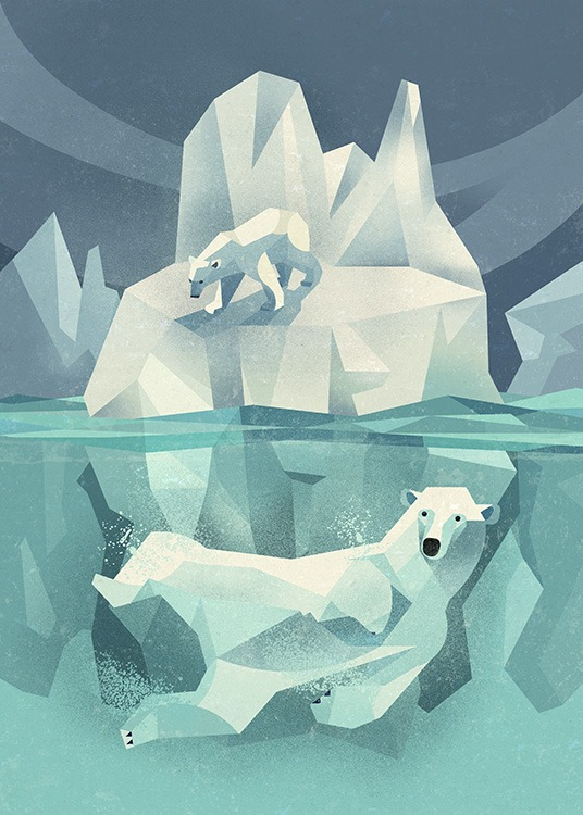 Vintage Polar Bear Poster / Kids posters at Desenio AB (11027)