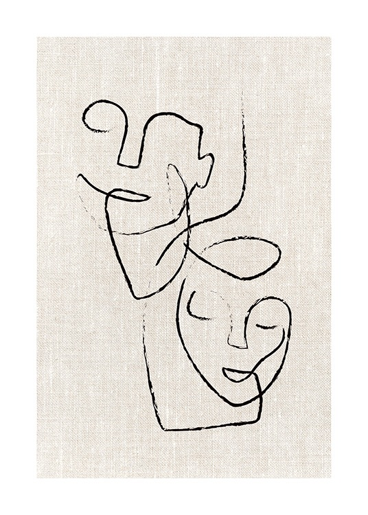 – Illustration with two abstract faces in black, drawn on a linen background in beige