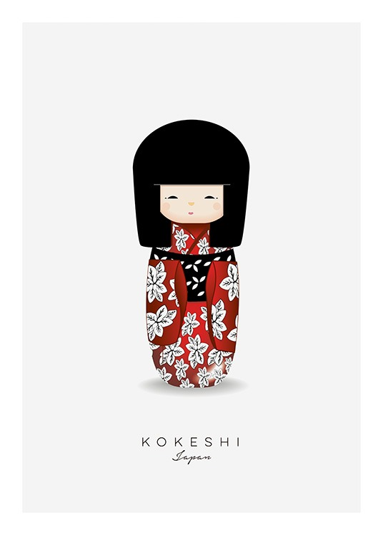 Kokeshi Doll Red Poster / Kids posters at Desenio AB (11454)