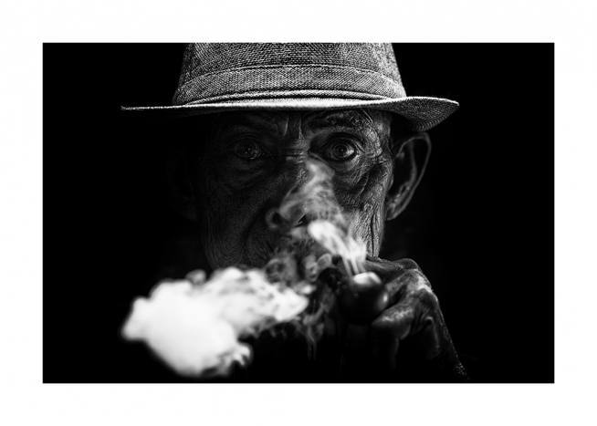 Old Man Smoking Poster / Black & white at Desenio AB (11489)