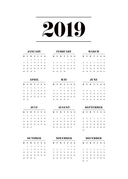 Typography Calendar Uk : Calendar poster