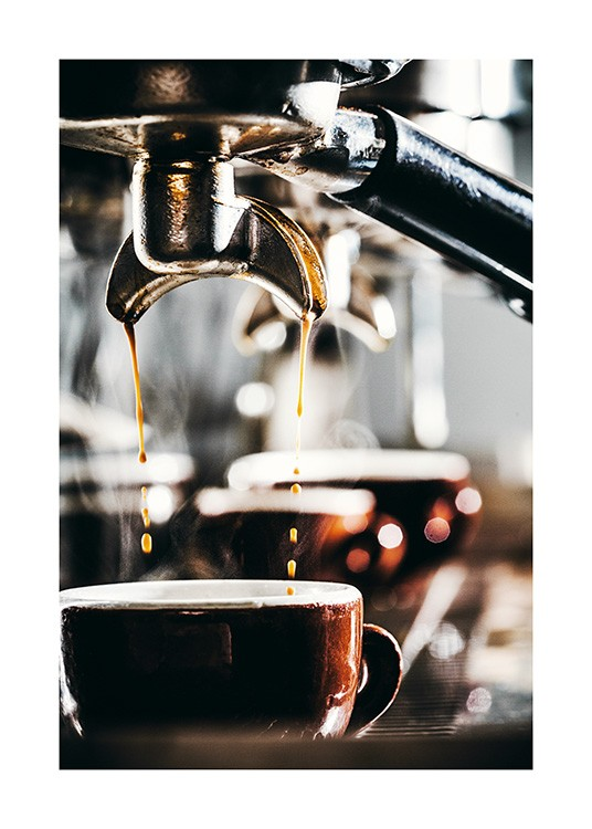 – Photograph of dripping coffee from an espresso machine, dripping into a cup