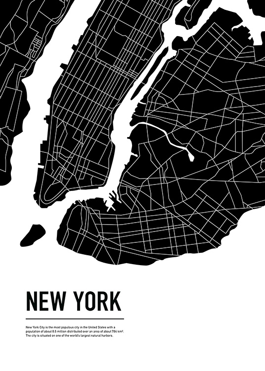 Graphic City Map New York Poster