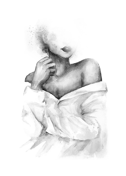 – Black and white watercolor illustration of a woman with exposed shoulders