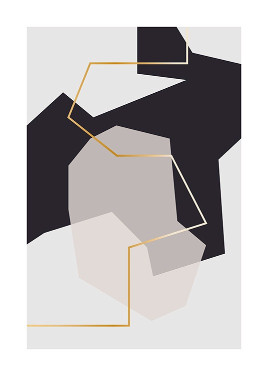 – Graphic illustration of abstract shapes in grey and black with a golden line in the middle