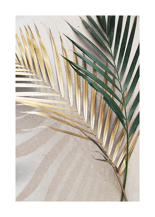 – Photograph of two palm leaves in green and gold, laying on a stone background in beige