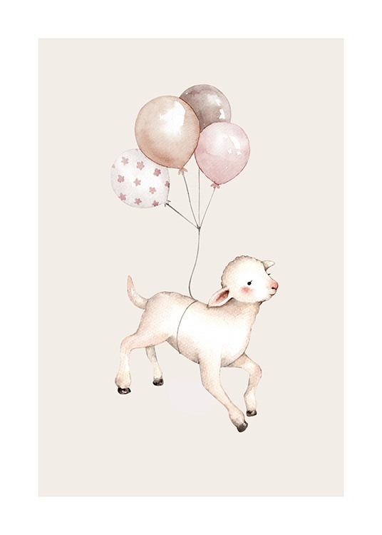 Flying Lamb Poster / Kids posters at Desenio AB (12463)