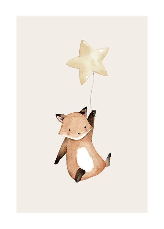 – Cute illustration of a flying fox who's holding a balloon shaped like a star