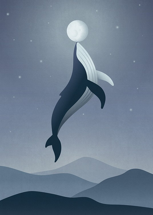 Whale Moon Poster / Kids posters at Desenio AB (12471)