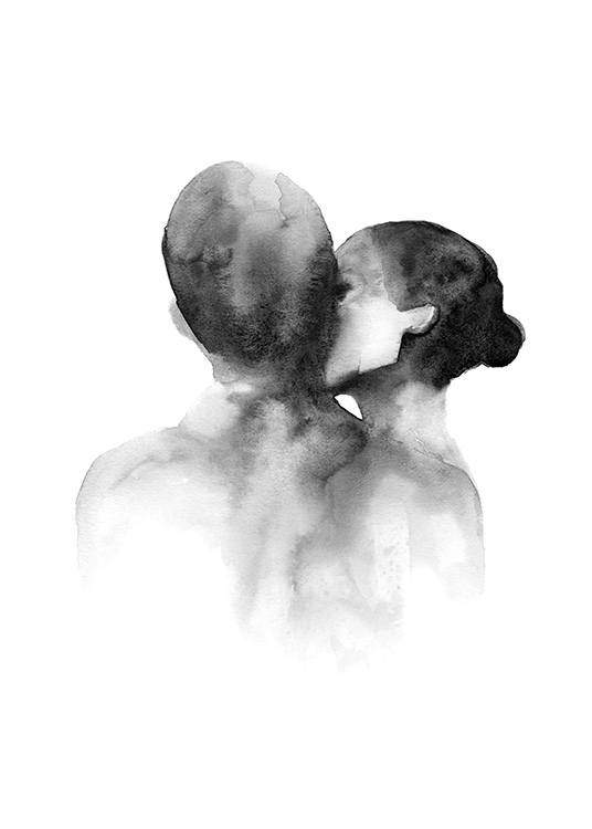 – Black and white watercolor illustration of a woman kissing a man on the cheek