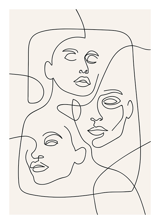 The Three Faces Line Art Poster / Illustrations at Desenio AB (12506)