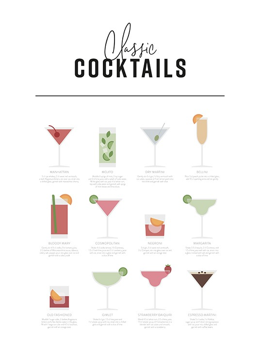 Classic Cocktail Guide Poster / Text posters at Desenio AB (12668)
